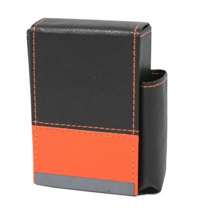 Pouzdro na krabičku cigaret kožené černo-oranžové
