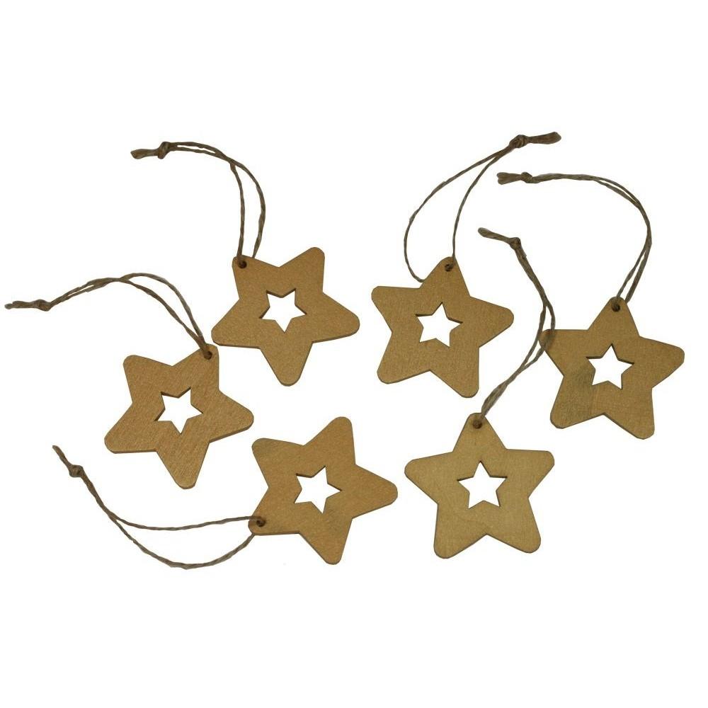 Dekorace závěsná hvězda 5 cm - 6 ks