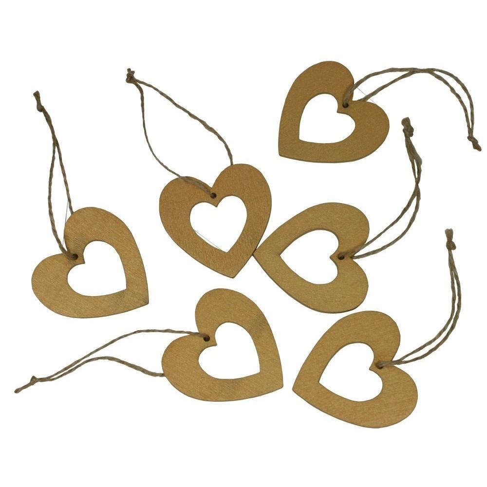 Dekorace závěsná srdce 5 cm - 6 ks