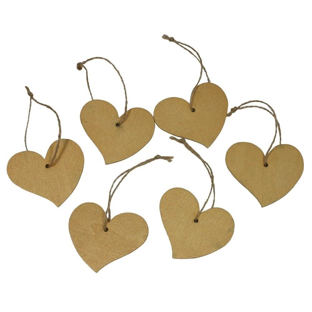 Dekorace závěsná srdce 6 cm - 6 ks