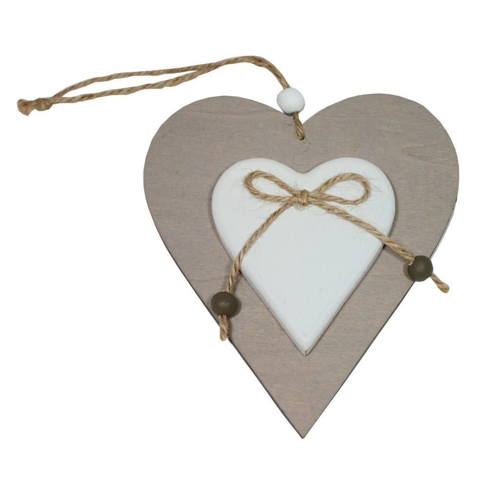 Dekorace srdce dřevěné