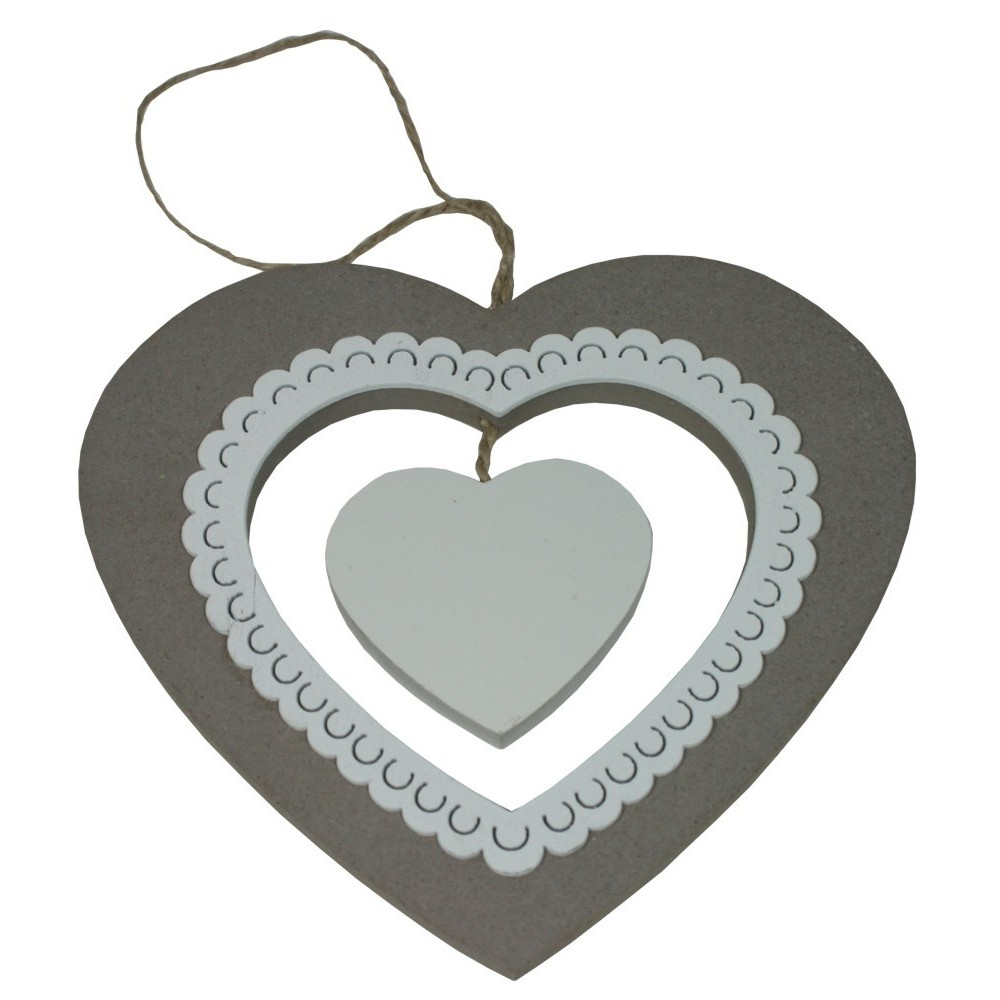 Dekorace srdce dřevěné krajka