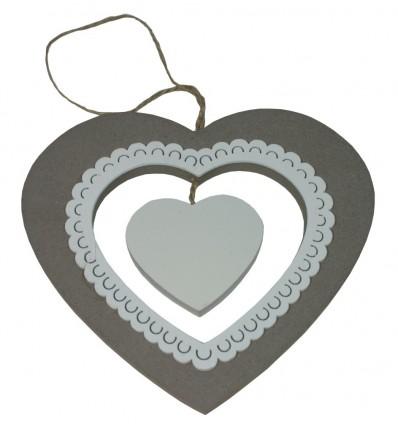 Dekorace srdce dřevěné bílé 15 cm