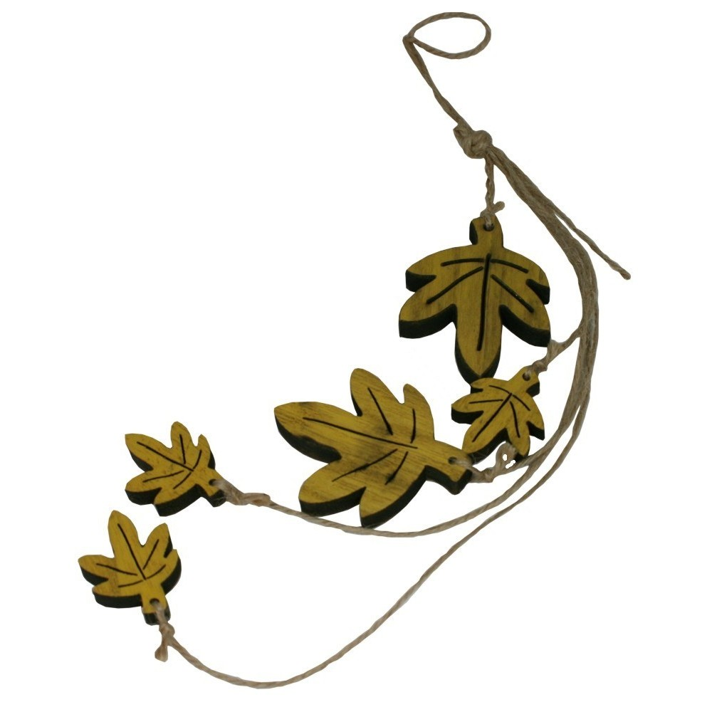 Dřevěná dekorace - girlanda listy