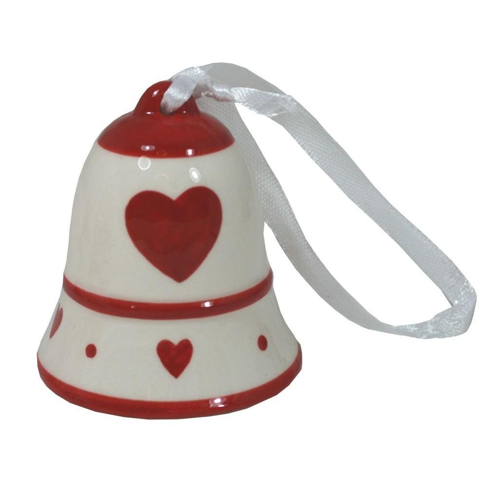 Zvonek keramický srdce střední