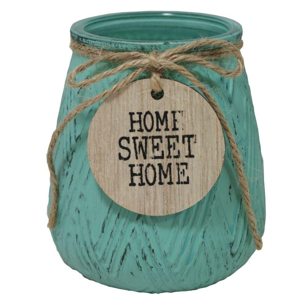 Svícen skleněný malý s nápisem  Home Sweet Home