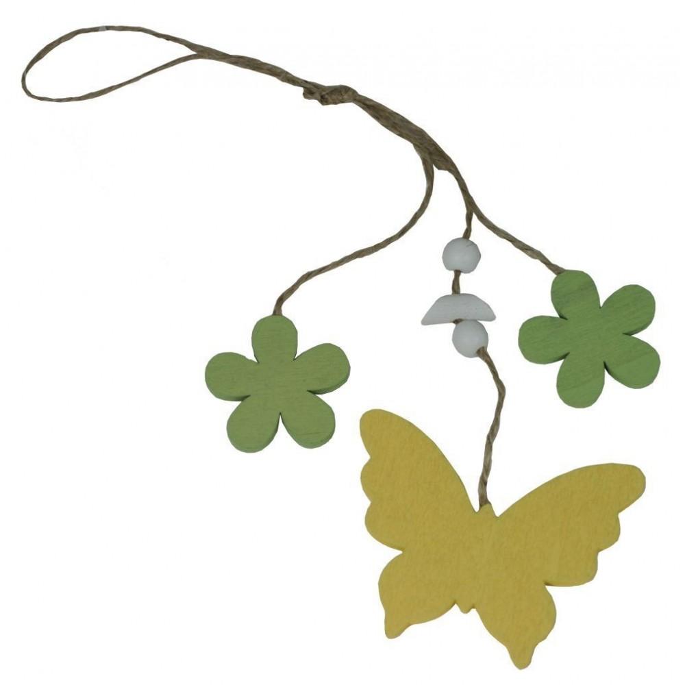 Dekorace závěsná motýlek a kytičky