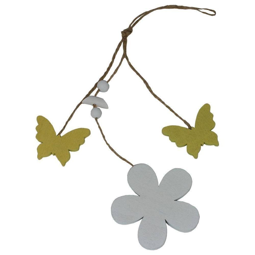 Dekorace závěsná kytička a motýlci