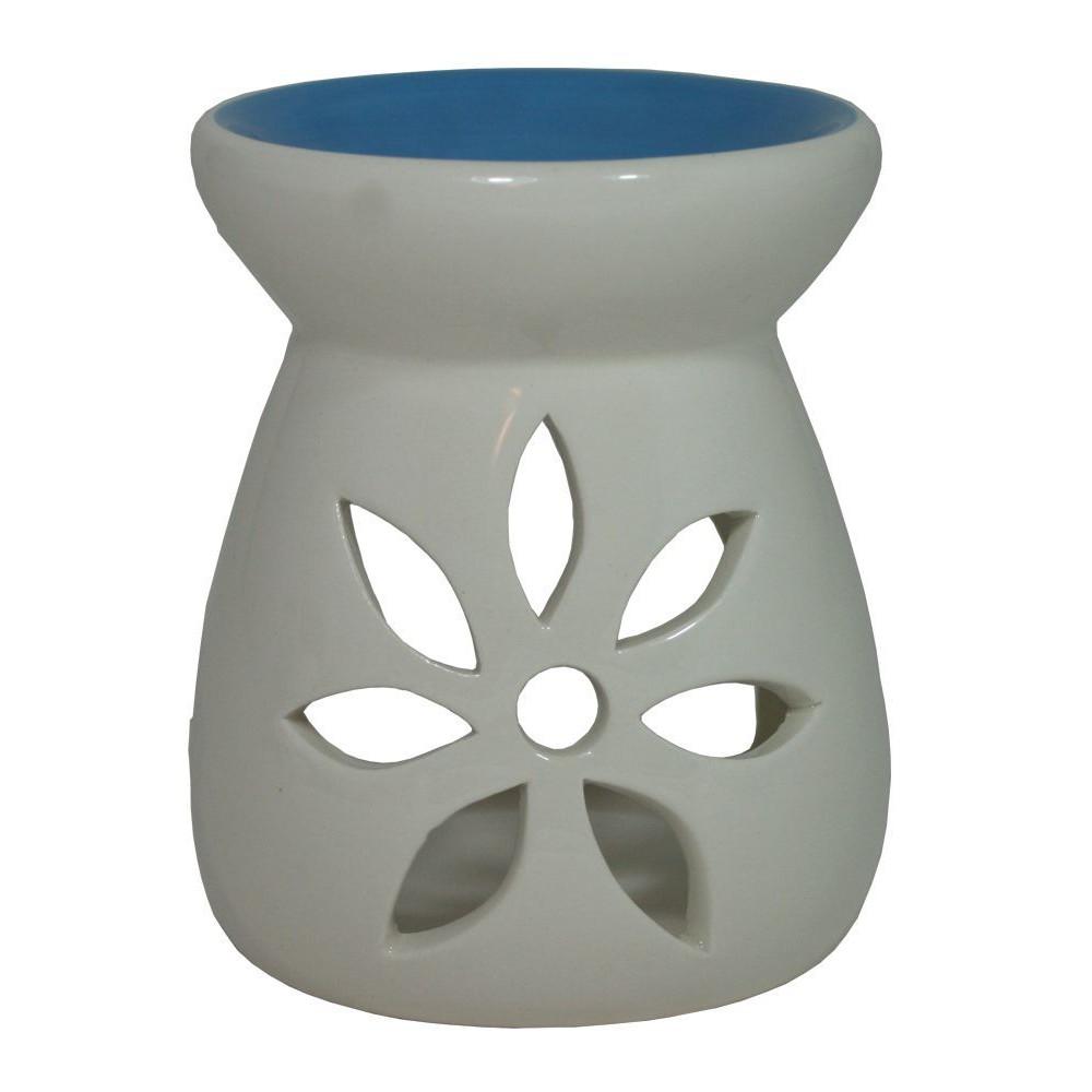 Keramická aroma lampa modrobílá Květ