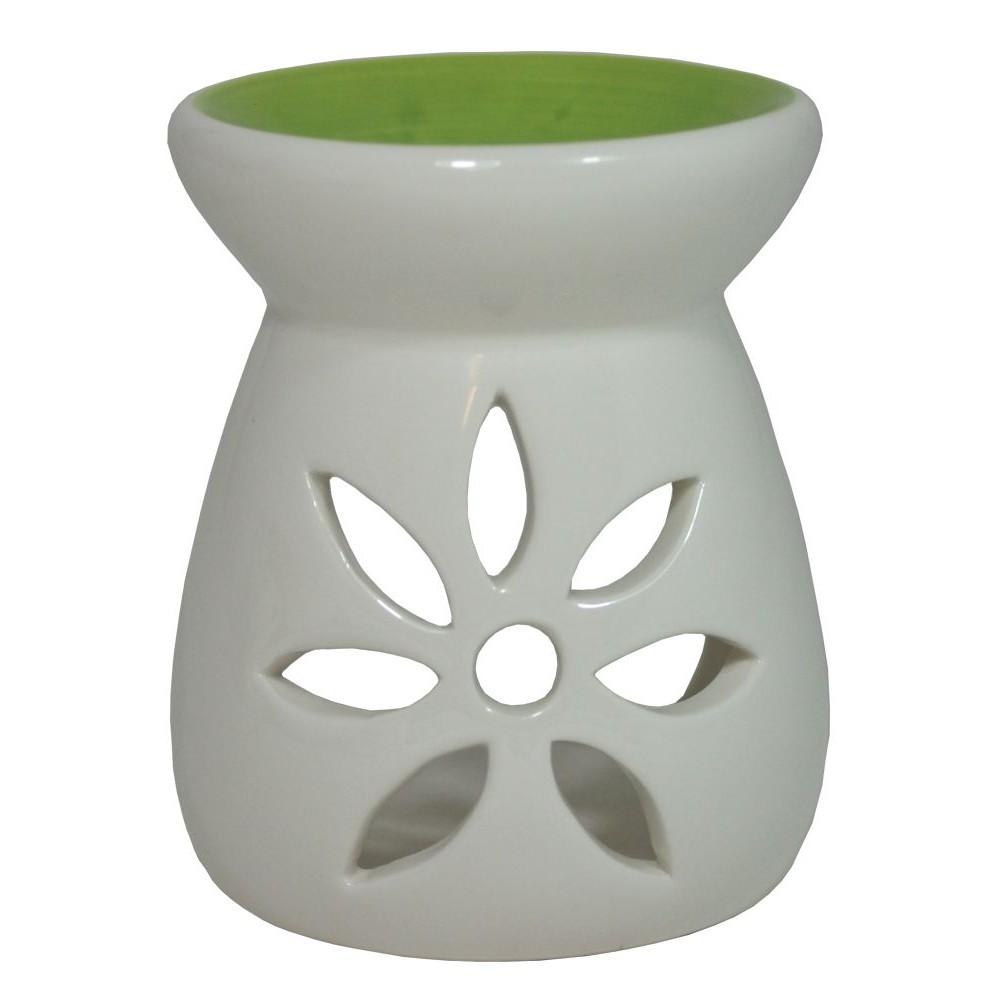 Keramická aroma lampa zelenobílá Květ
