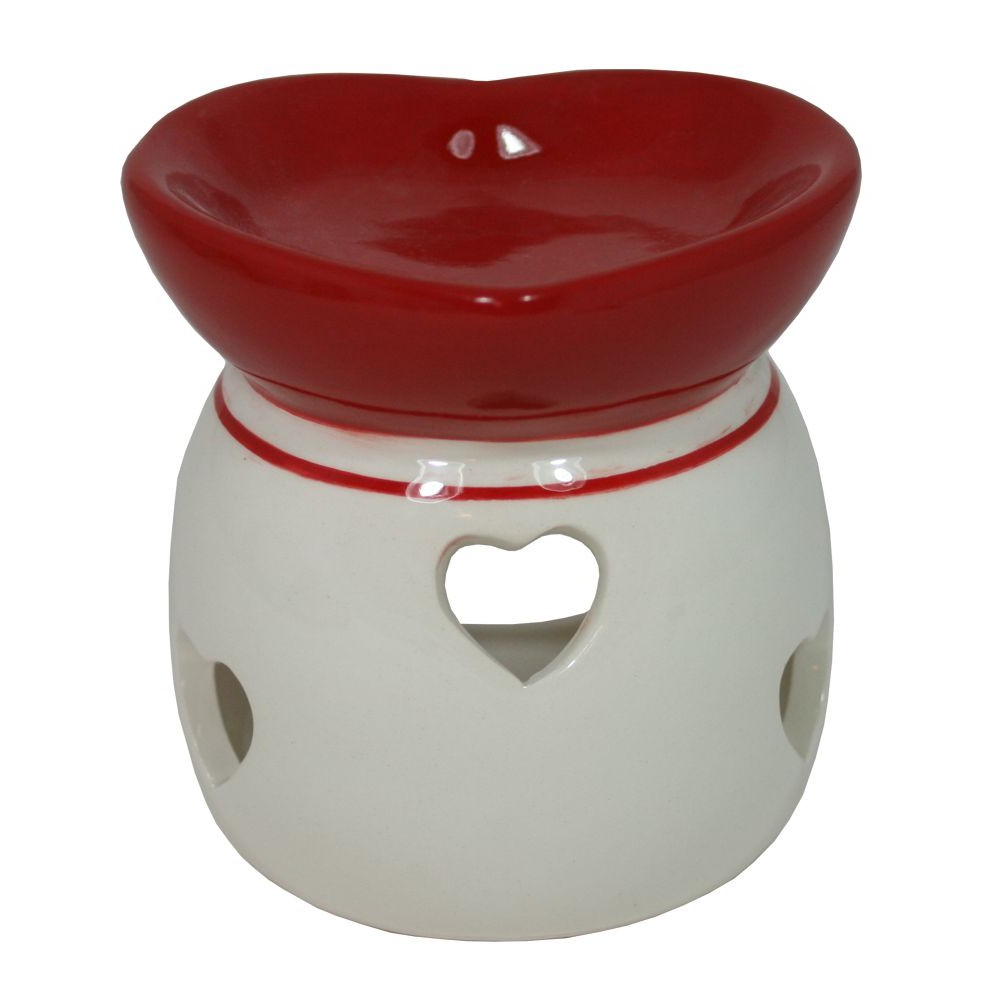 Aroma lampa keramická červenobílá Srdce