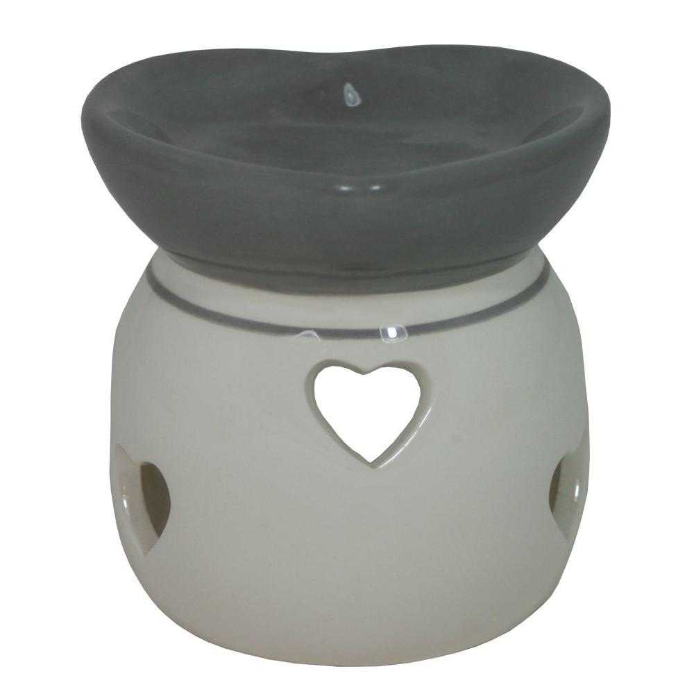 Aroma lampa keramická šedobílá Srdce