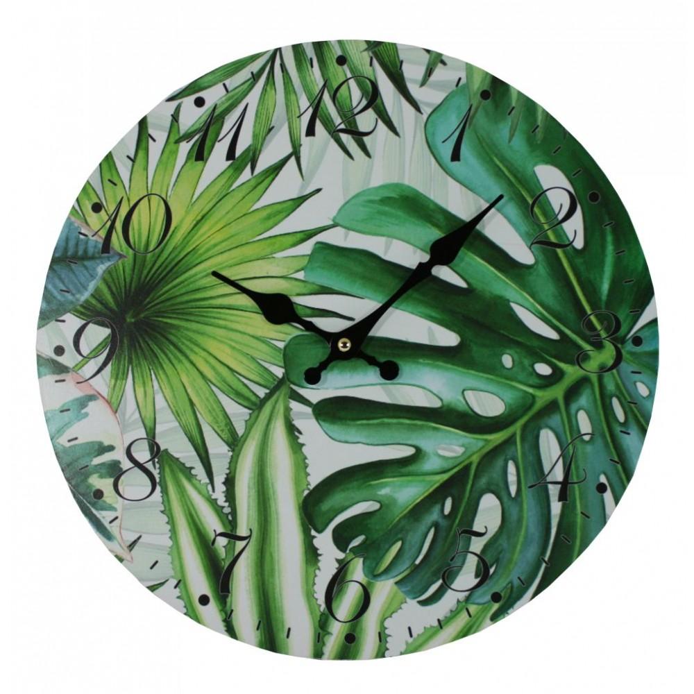 Nástěnné hodiny Tropické listy