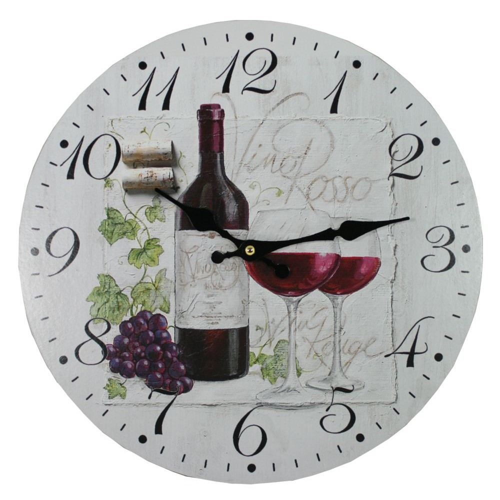 Nástěnné hodiny Červené víno