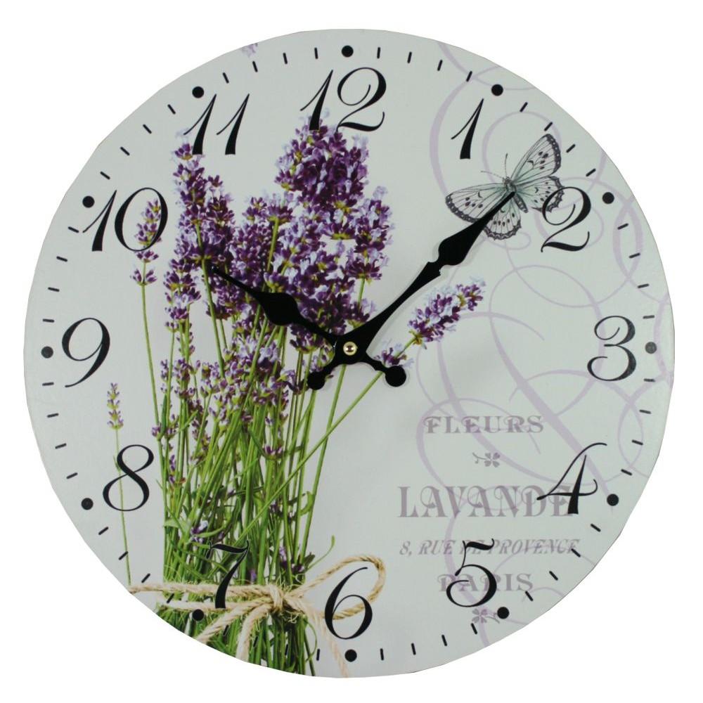 Nástěnné hodiny Lavender kytice
