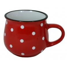 Hrnek keramický červený s puntíky 230 ml