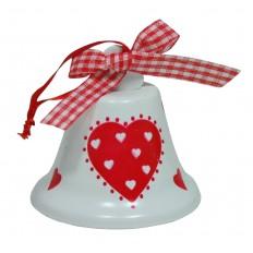 Zvonek plechový se srdíčkem bílo-červený