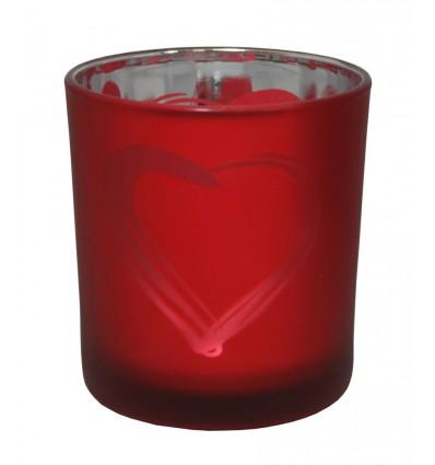 Svícen skleněný srdce červený velký