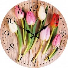 Nástěnné hodiny Barevné tulipány