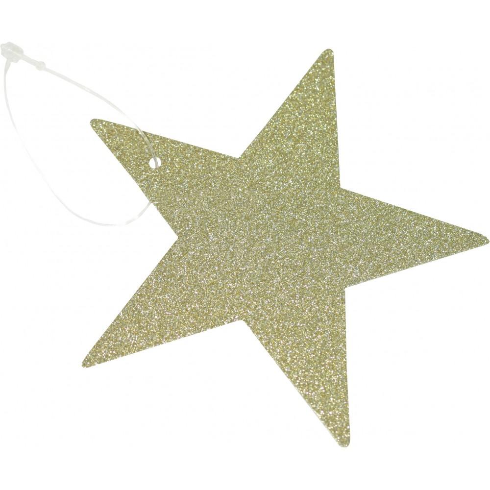 Jmenovky na dárky- hvězdy zlaté 9 x 9 cm