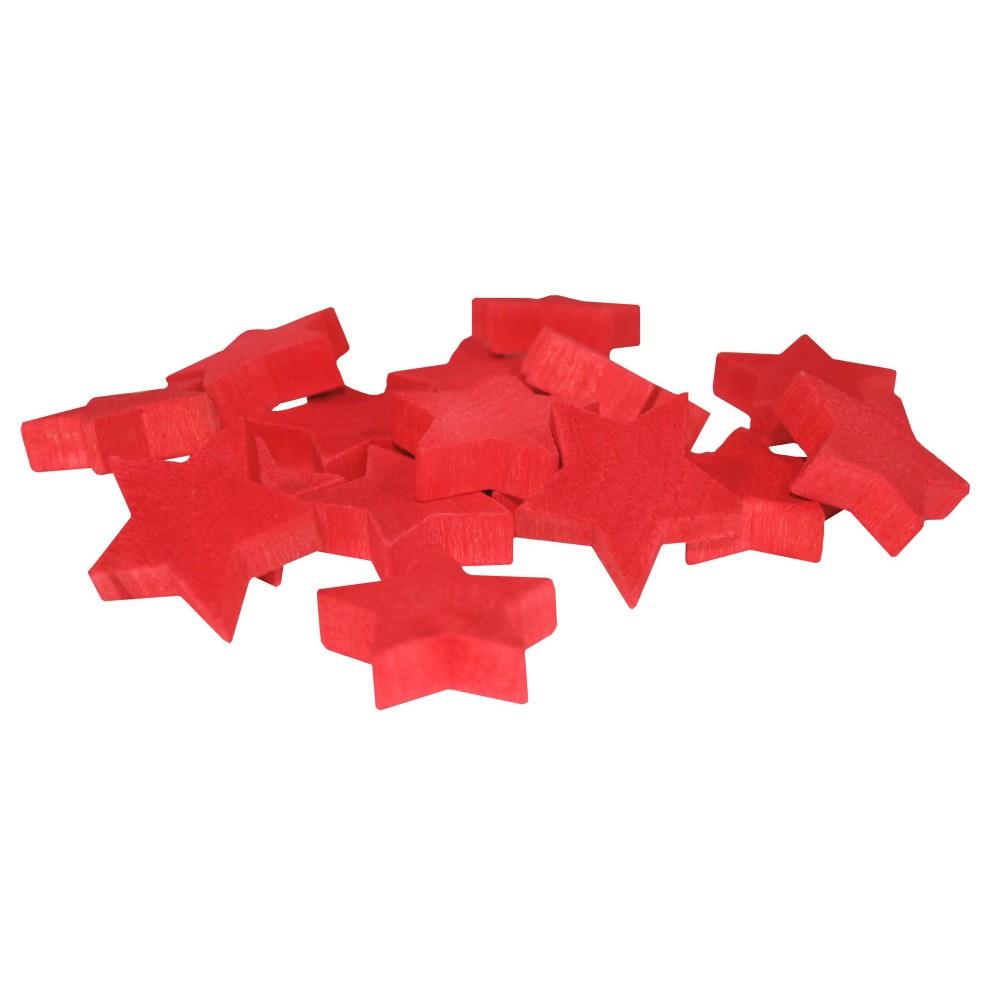 Dekorace- Hvězdy dřevěné- plné, červené