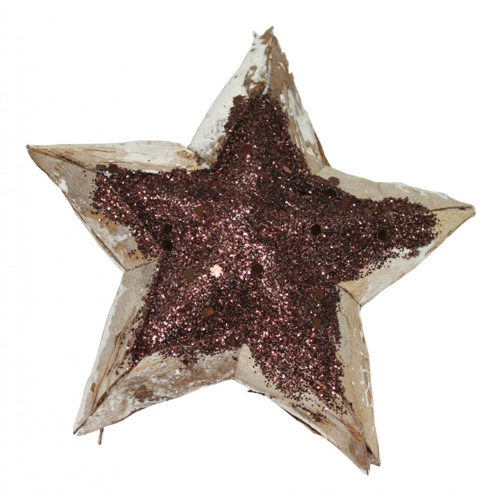 Hvězda 70 dřevěná natur + glitter