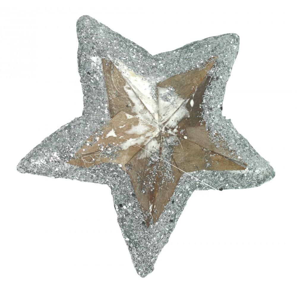 Hvězda 05 dřevěná natur + glitter 05 - 10 cm