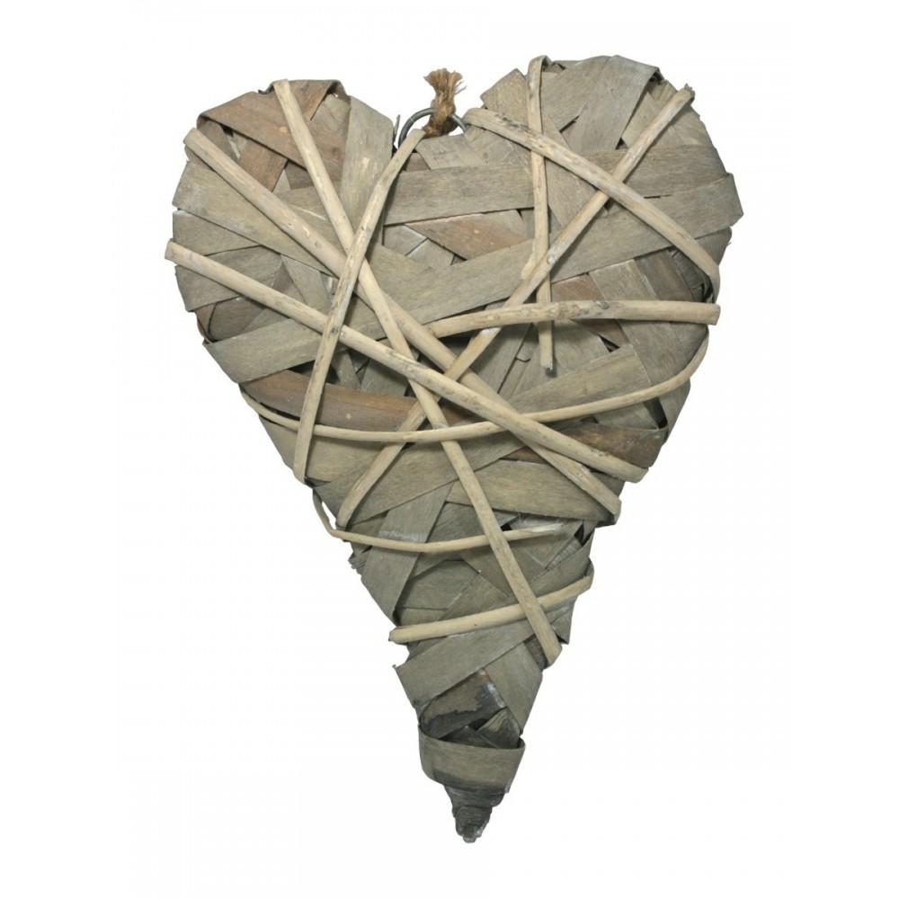 Srdce ratan přírodní šedé