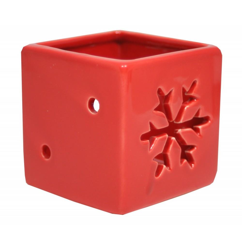 Svícen keramický vločka červený 6,5 cm