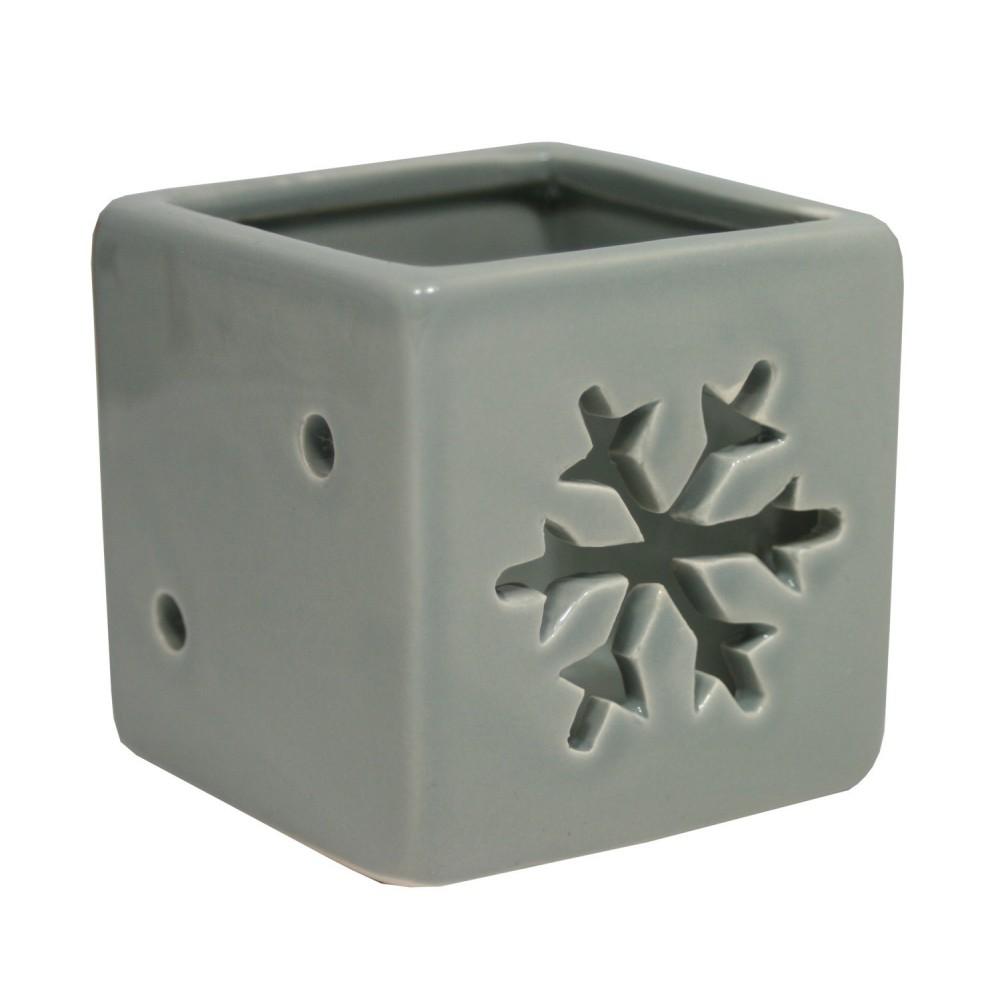 Svícen keramický vločka šedý 6,5 cm