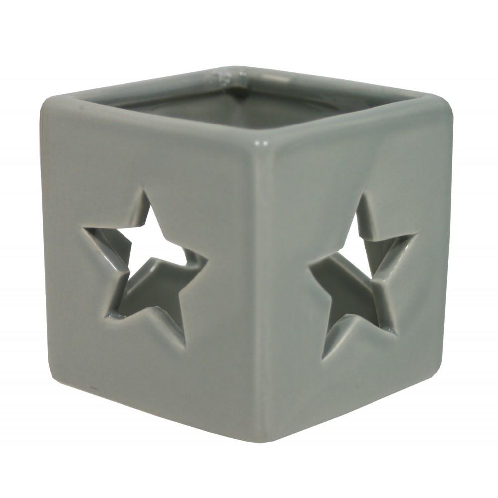 Svícen keramický hvězda šedý 6,5 cm