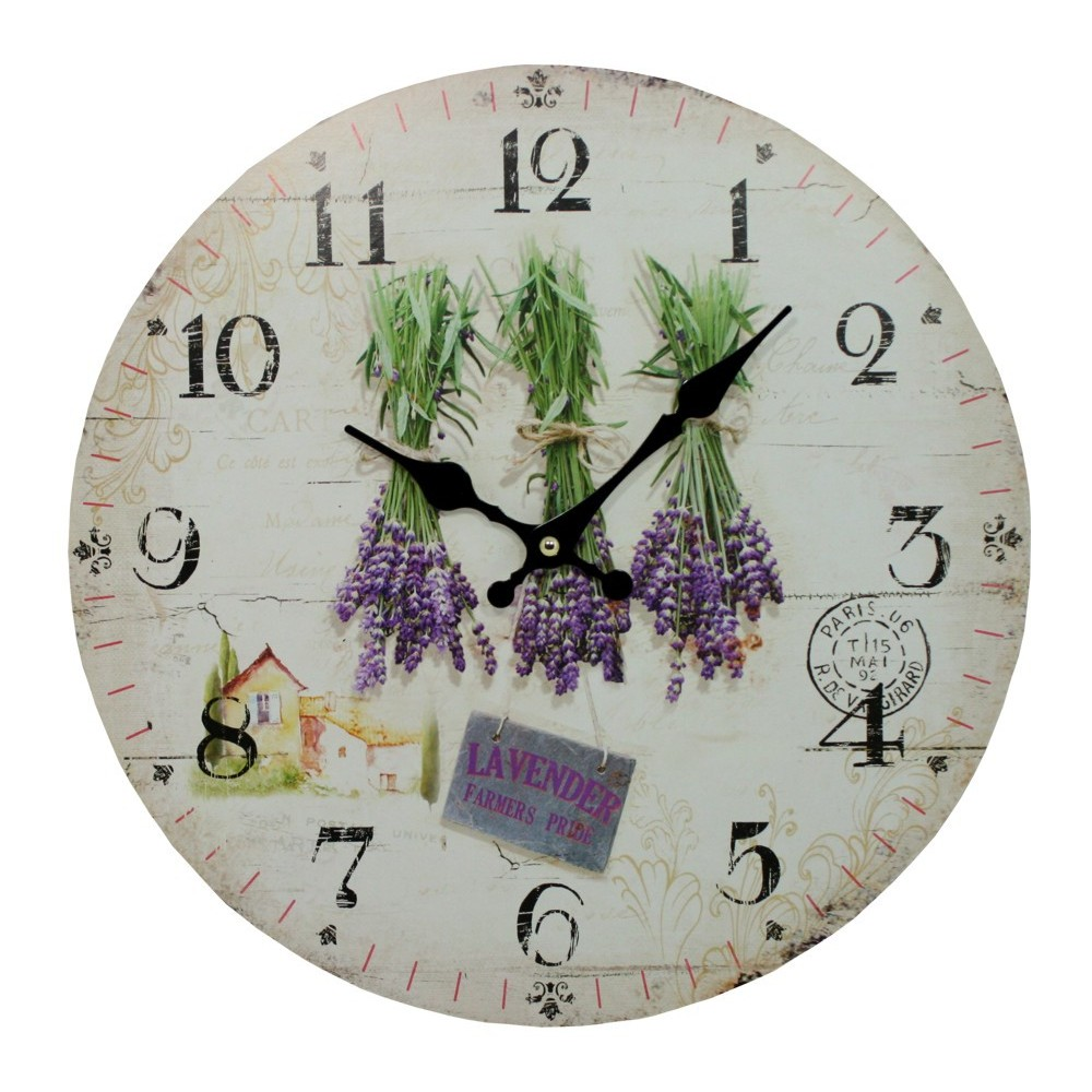 Nástěnné hodiny Levandule svazky