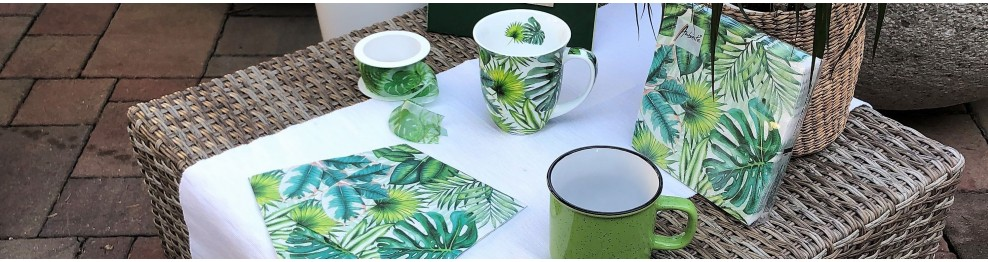 Kaktusy, tropické listy, bylinky